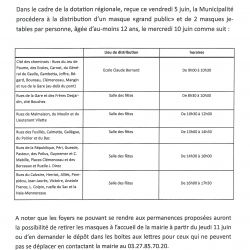 "Distribution des masques ""grand prublic"""